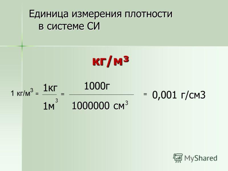 Единица измерения плотности в системе СИ кг/м³ кг/м³ = 1кг 1м 3 1000г 1000000 см 3 = 0,001г/см3 1 кг/м 3 =