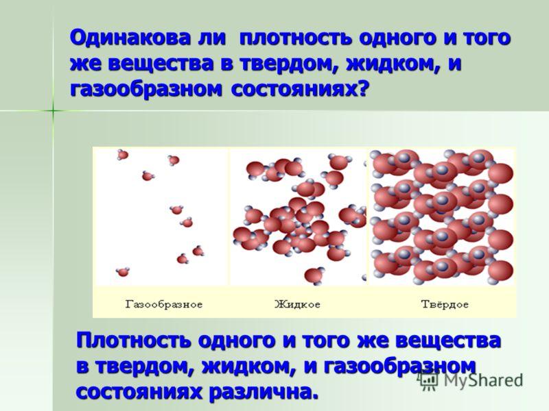 Одинакова ли плотность одного и того же вещества в твердом, жидком, и газообразном состояниях? Плотность одного и того же вещества в твердом, жидком, и газообразном состояниях различна.