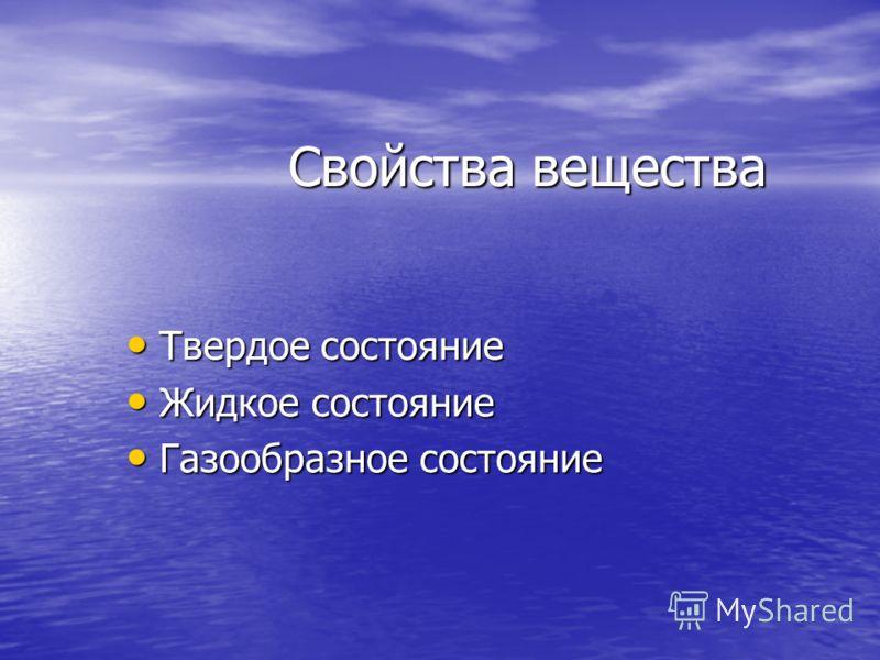 Вода Лед, иней, град, снег (твердое состояние) Вода (жидкое состояние) Пар (газообразное состояние)