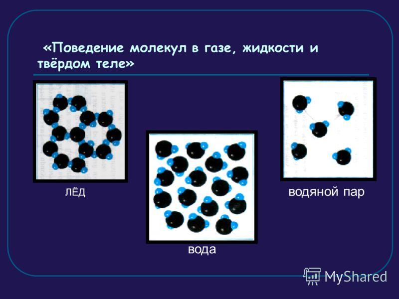 «Поведение молекул в газе, жидкости и твёрдом теле» ЛЁД вода водяной пар