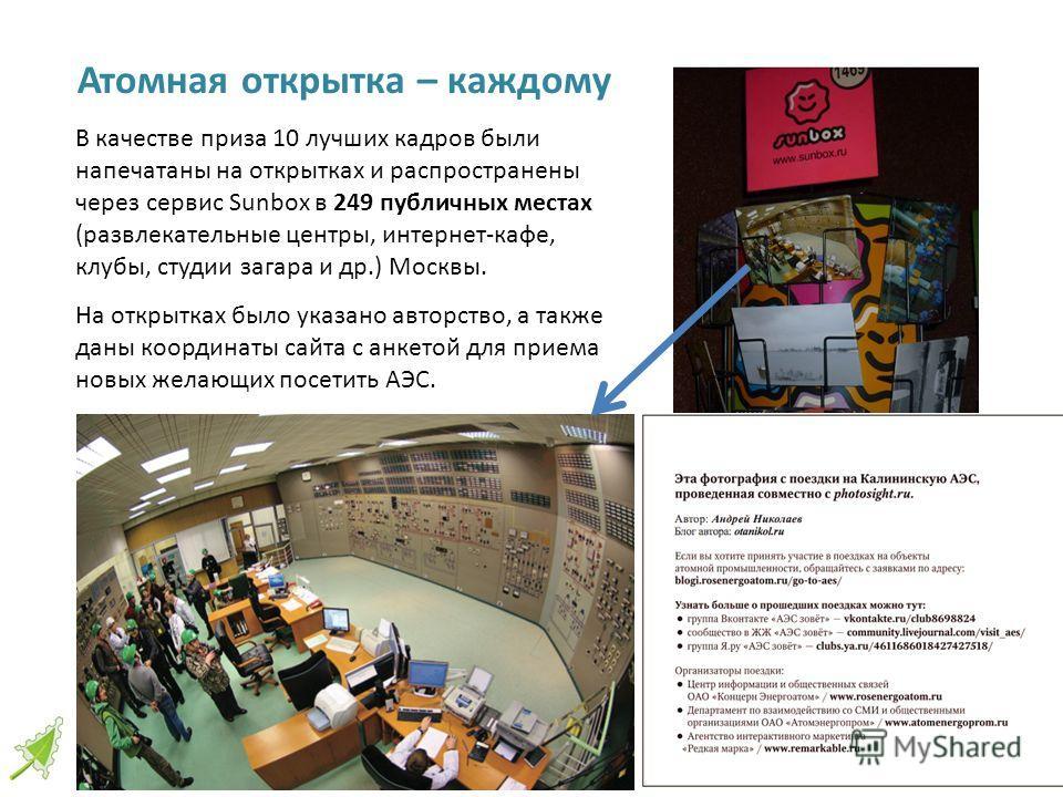 Атомная открытка – каждому 16 В качестве приза 10 лучших кадров были напечатаны на открытках и распространены через сервис Sunbox в 249 публичных местах (развлекательные центры, интернет-кафе, клубы, студии загара и др.) Москвы. На открытках было ука