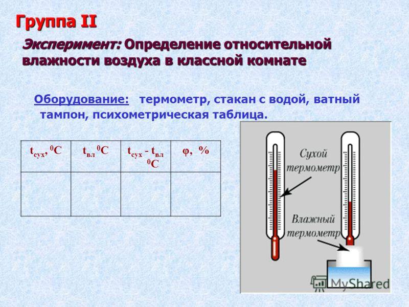 Эксперимент: Определение относительной влажности воздуха в классной комнате Оборудование: термометр, стакан с водой, ватный тампон, психометрическая таблица. t сух, 0 Сt вл 0 Сt сух - t вл 0 С φ, % Группа II