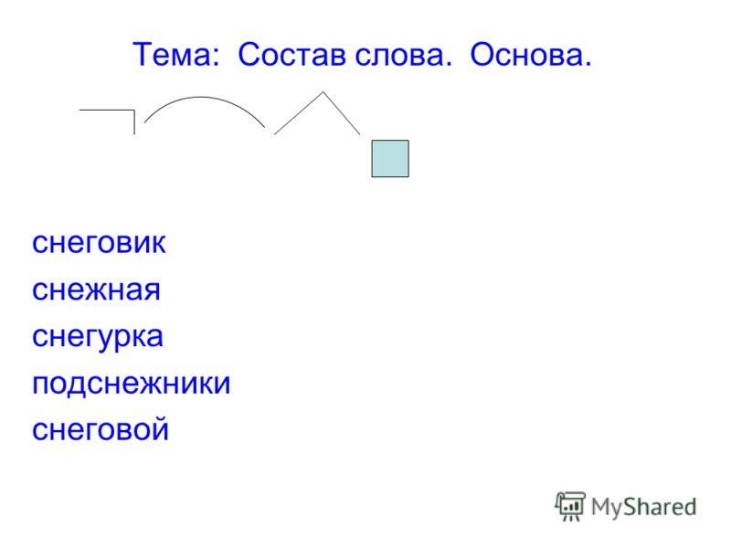 Тема: Состав слова. Основа. снеговик снежная снегурка подснежники снеговой