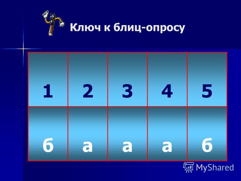 Ключ к блиц-опросу 12345 баааб