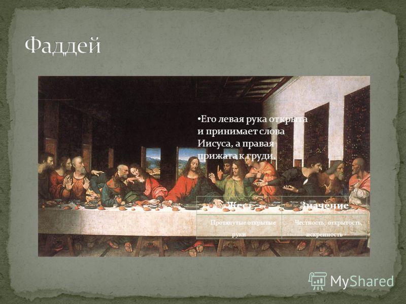 Его левая рука открыта и принимает слова Иисуса, а правая прижата к груди. ЖестЗначение Протянутые открытые руки Честность, открытость, искренность