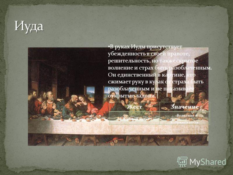 В руках Иуды присутствует убежденность в своей правоте, решительность, но также скрытое волнение и страх быть разоблаченным. Он единственный в картине, кто сжимает руку в кулак от страха быть разоблаченным и не показывает открытые ладони. ЖестЗначени