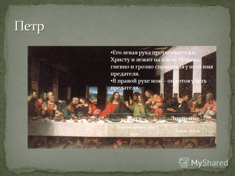 Его левая рука протягивается к Христу и лежит на плече Иоанна, гневно и грозно спрашивая у него имя предателя. В правой руке нож – он готов убить предателя. ЖестЗначение Сжатый крепко в руке нож Злость, угроза