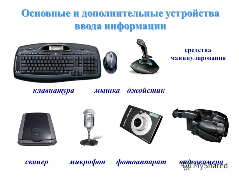Основные и дополнительные устройства ввода информации средства манипулирования клавиатурамышкаджойстик сканермикрофонфотоаппаратвидеокамера
