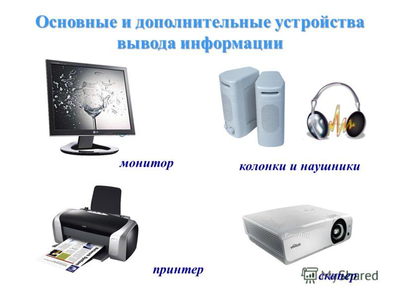 Основные и дополнительные устройства вывода информации монитор колонки и наушники принтер сканер