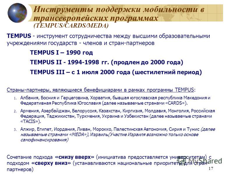 17 Инструменты поддержки мобильности в трансевропейских программах (TEMPUS/CARDS/MEDA) TEMPUS - инструмент сотрудничества между высшими образовательными учреждениями государств - членов и стран-партнеров TEMPUS I – 1990 год TEMPUS II - 1994-1998 гг.