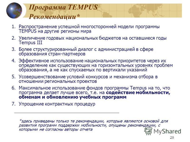 20 Программа TEMPUS Рекомендации* 1.Распространение успешной многосторонней модели программы TEMPUS на другие регионы мира 2.Увеличение годовых национальных бюджетов на оставшиеся годы Tempus III 3.Более структурированный диалог с администрацией в сф