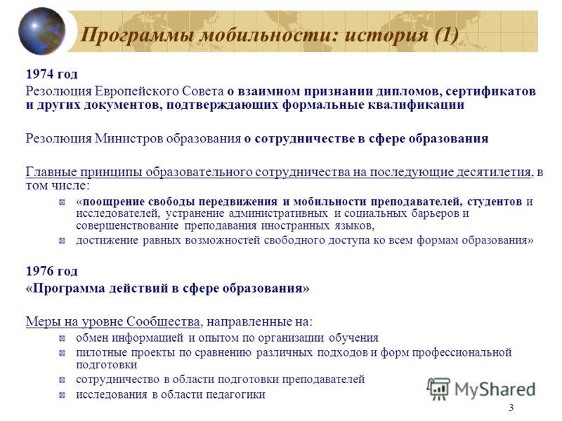 3 Программы мобильности: история (1) 1974 год Резолюция Европейского Совета о взаимном признании дипломов, сертификатов и других документов, подтверждающих формальные квалификации Резолюция Министров образования о сотрудничестве в сфере образования Г