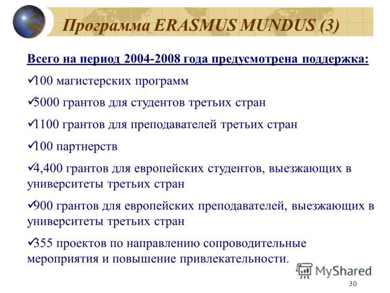 30 Программа ERASMUS MUNDUS (3) Всего на период 2004-2008 года предусмотрена поддержка: 100 магистерских программ 5000 грантов для студентов третьих стран 1100 грантов для преподавателей третьих стран 100 партнерств 4,400 грантов для европейских студ