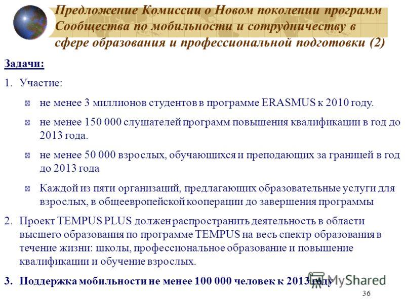 36 Предложение Комиссии о Новом поколении программ Сообщества по мобильности и сотрудничеству в сфере образования и профессиональной подготовки (2) Задачи: 1.Участие: не менее 3 миллионов студентов в программе ERASMUS к 2010 году. не менее 150 000 сл