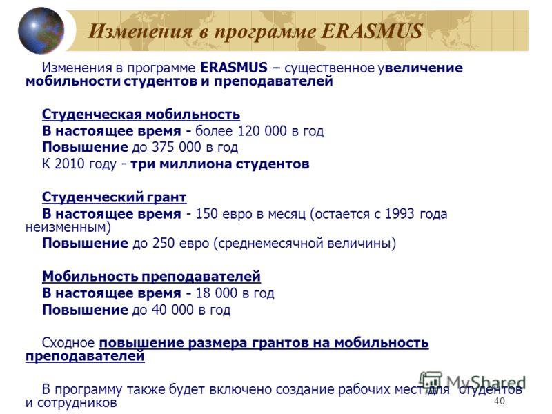 40 Изменения в программе ERASMUS Изменения в программе ERASMUS – существенное увеличение мобильности студентов и преподавателей Студенческая мобильность В настоящее время - более 120 000 в год Повышение до 375 000 в год К 2010 году - три миллиона сту