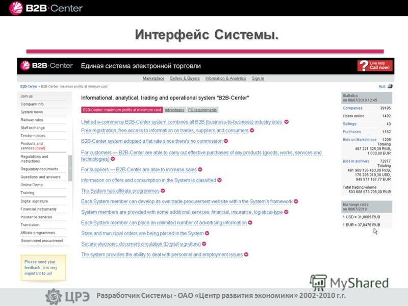 Интерфейс Системы.