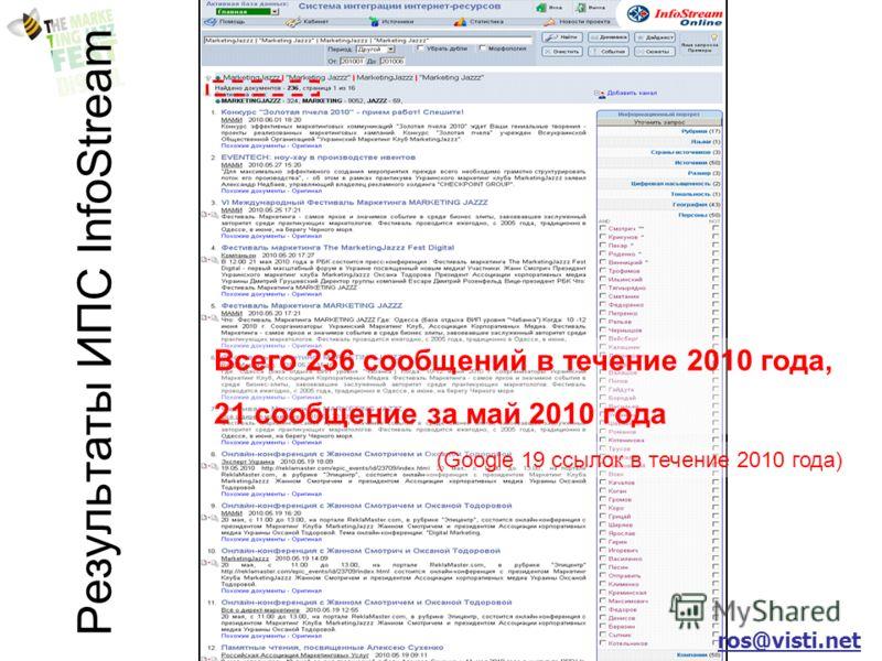 Результаты ИПС InfoStream Всего 236 сообщений в течение 2010 года, 21 сообщение за май 2010 года (Google 19 ссылок в течение 2010 года) ros@visti.net