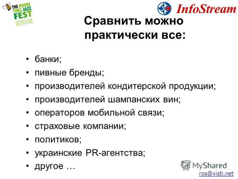 Сравнить можно практически все: ros@visti.net банки; пивные бренды; производителей кондитерской продукции; производителей шампанских вин; операторов мобильной связи; страховые компании; политиков; украинские PR-агентства; другое …