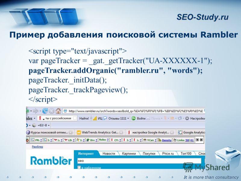 It is more than consultancy SEO-Study.ru Пример добавления поисковой системы Rambler var pageTracker = _gat._getTracker(UA-XXXXXX-1); pageTracker.addOrganic(rambler.ru, words); pageTracker._initData(); pageTracker._trackPageview();