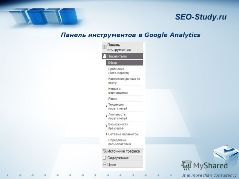 It is more than consultancy SEO-Study.ru Панель инструментов в Google Analytics