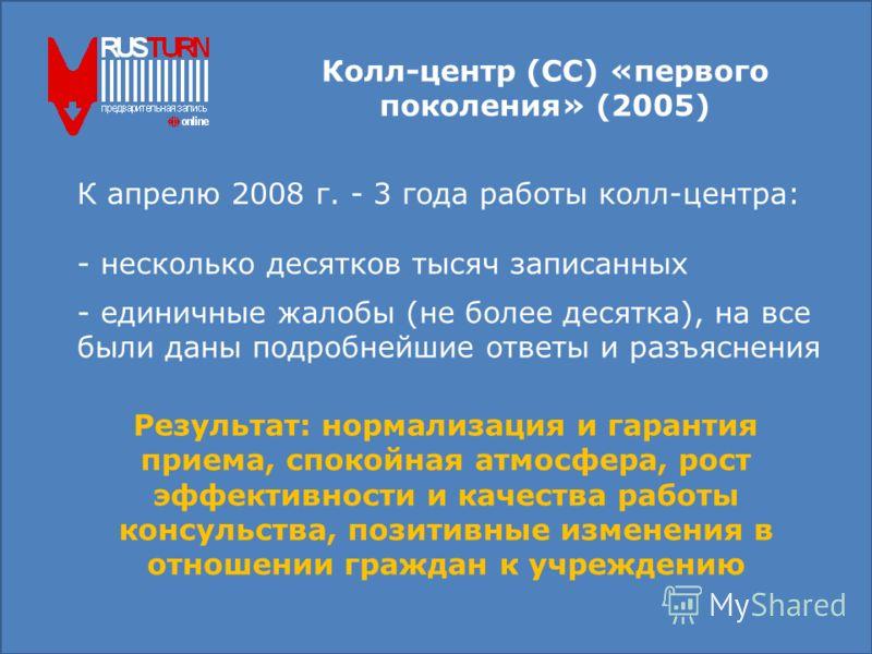 Колл-центр (СС) «первого поколения» (2005) К апрелю 2008 г. - 3 года работы колл-центра: - несколько десятков тысяч записанных - единичные жалобы (не более десятка), на все были даны подробнейшие ответы и разъяснения Результат: нормализация и гаранти