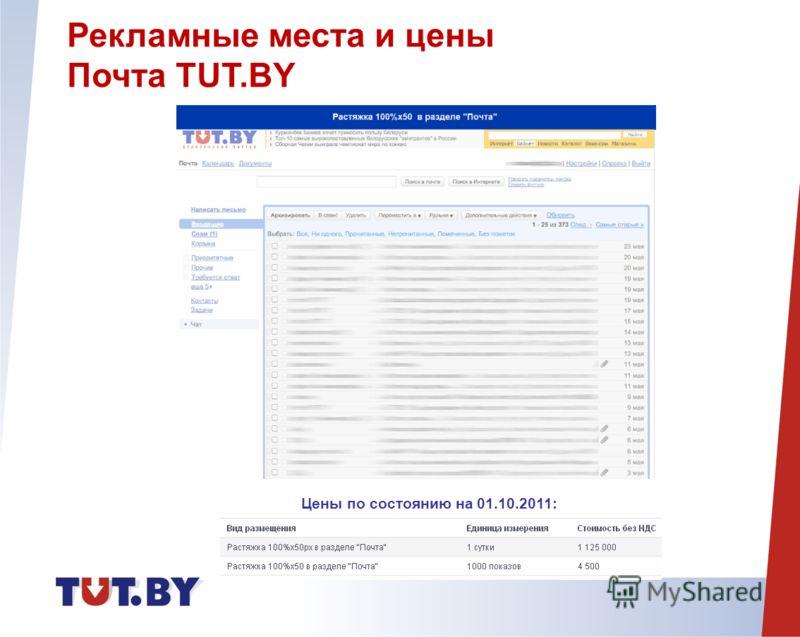 Рекламные места и цены Почта TUT.BY Цены по состоянию на 01.10.2011: