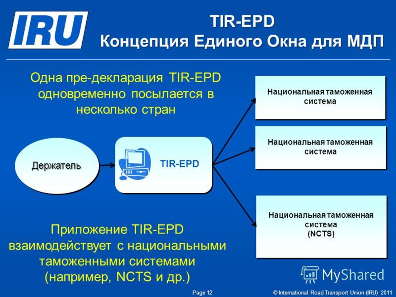 TIR-EPD Концепция Единого Окна для МДП Page 12 © International Road Transport Union (IRU) 2011 Приложение TIR-EPD взаимодействует с национальными таможенными системами (например, NCTS и др.) TIR-EPD Национальная таможенная система (NCTS) Национальная