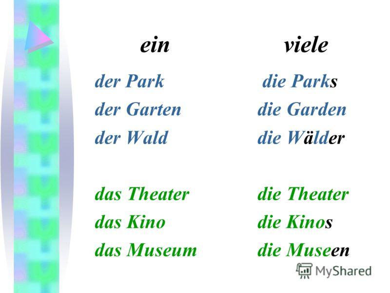 ein viele der Park der Garten der Wald das Theater das Kino das Museum die Parks die Garden die Wälder die Theater die Kinos die Museen