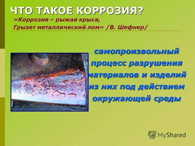 ЧТО ТАКОЕ КОРРОЗИЯ? самопроизвольный процесс разрушения материалов и изделий из них под действием окружающей среды «Коррозия – рыжая крыса, Грызет металлический лом» /В. Шефнер/