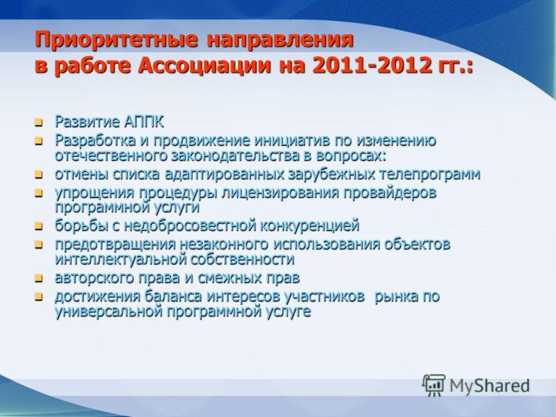 Приоритетные направления в работе Ассоциации на 2011-2012 гг.: Развитие АППК Развитие АППК Разработка и продвижение инициатив по изменению отечественного законодательства в вопросах: Разработка и продвижение инициатив по изменению отечественного зако