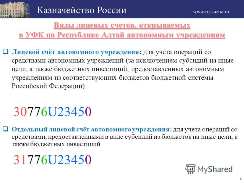 6 Виды лицевых счетов, открываемых в УФК по Республике Алтай автономным учреждениям Лицевой счёт автономного учреждения: для учёта операций со средствами автономных учреждений (за исключением субсидий на иные цели, а также бюджетных инвестиций, предо
