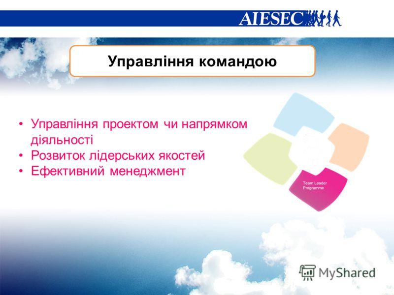 Управління командою Управління проектом чи напрямком діяльності Розвиток лідерських якостей Ефективний менеджмент