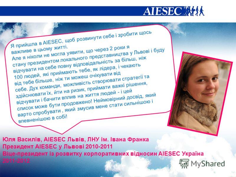 Я прийшла в AIESEC, щоб розвинути себе і зробити щось важливе в цьому житті. Але я ніколи не могла уявити, що через 2 роки я стану президентом локального представництва у Львові і буду відчувати на себе повну відповідальність за більш, ніж 100 людей,