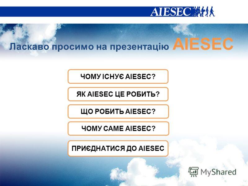 Ласкаво просимо на презентацію AIESEC ЧОМУ ІСНУЄ AIESEC? ЩО РОБИТЬ AIESEC? ЧОМУ САМЕ AIESEC? ПРИЄДНАТИСЯ ДО AIESEC ЯК AIESEC ЦЕ РОБИТЬ?
