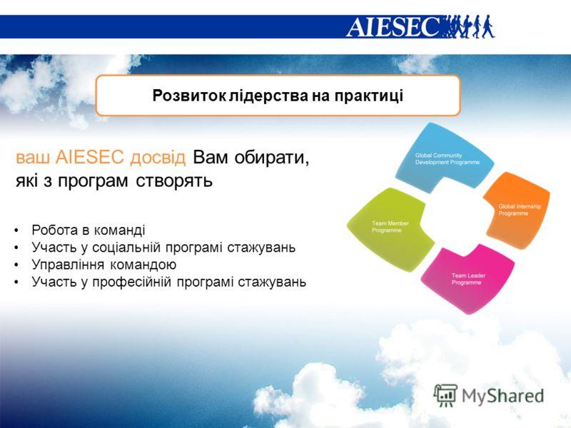 Розвиток лідерства на практиці Робота в команді Участь у соціальній програмі стажувань Управління командою Участь у професійній програмі стажувань ваш AIESEC досвід Вам обирати, які з програм створять