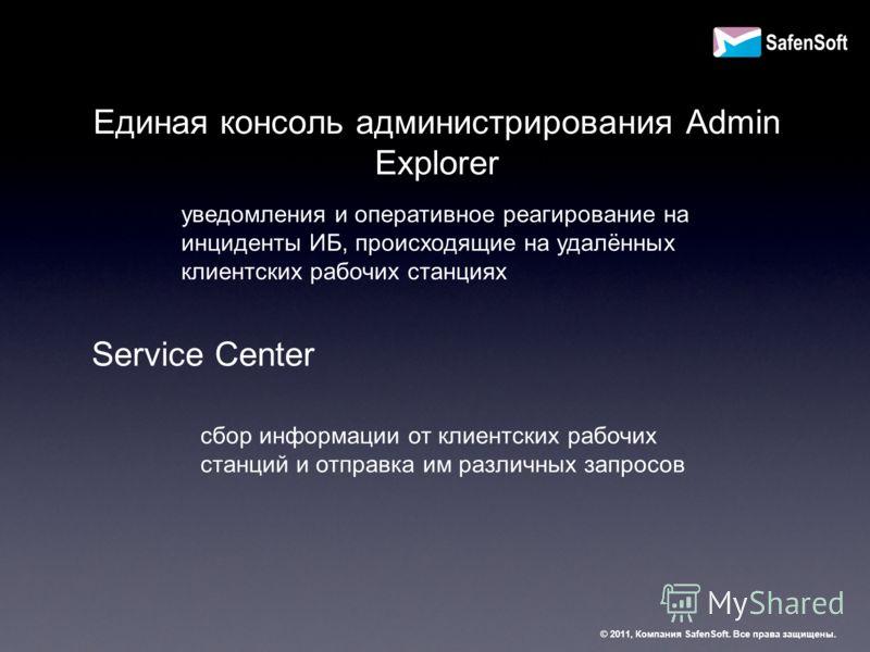 Единая консоль администрирования Admin Explorer уведомления и оперативное реагирование на инциденты ИБ, происходящие на удалённых клиентских рабочих станциях Service Center сбор информации от клиентских рабочих станций и отправка им различных запросо