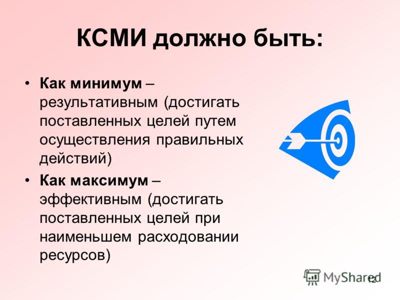 12 КСМИ должно быть: Как минимум – результативным (достигать поставленных целей путем осуществления правильных действий) Как максимум – эффективным (достигать поставленных целей при наименьшем расходовании ресурсов)