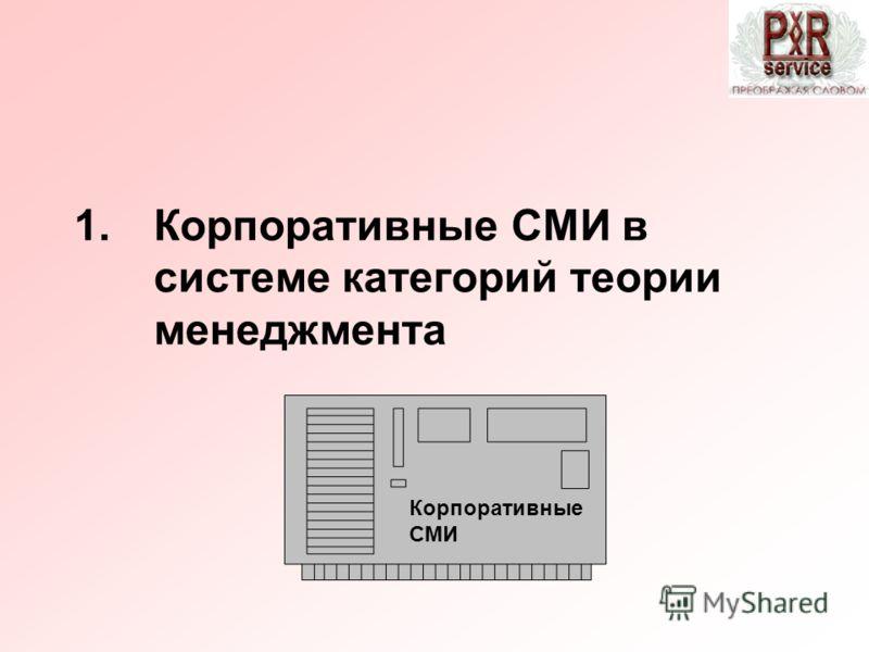 1.Корпоративные СМИ в системе категорий теории менеджмента Корпоративные СМИ