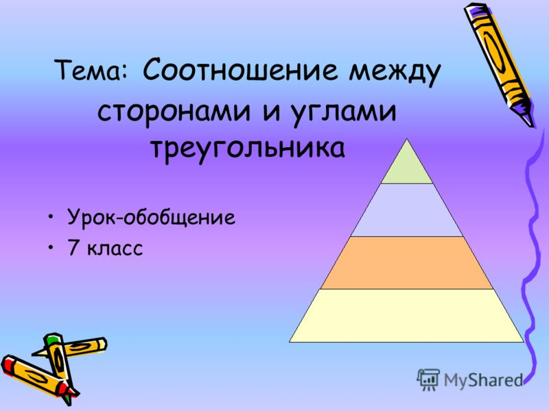 Тема: Соотношение между сторонами и углами треугольника Урок-обобщение 7 класс