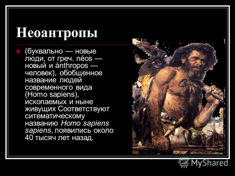 Неоантропы (буквально новые люди, от греч. néos новый и ánthropos человек), обобщенное название людей современного вида (Homo sapiens), ископаемых и ныне живущих Соответствуют ситематическому названию Homo sapiens sapiens, появились около 40 тысяч ле