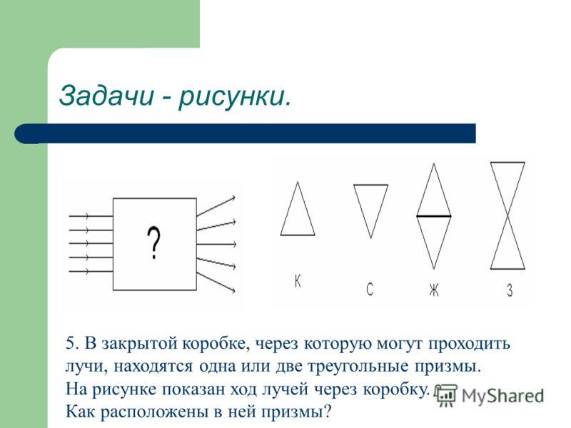 Задачи - рисунки. 5. В закрытой коробке, через которую могут проходить лучи, находятся одна или две треугольные призмы. На рисунке показан ход лучей через коробку. Как расположены в ней призмы?