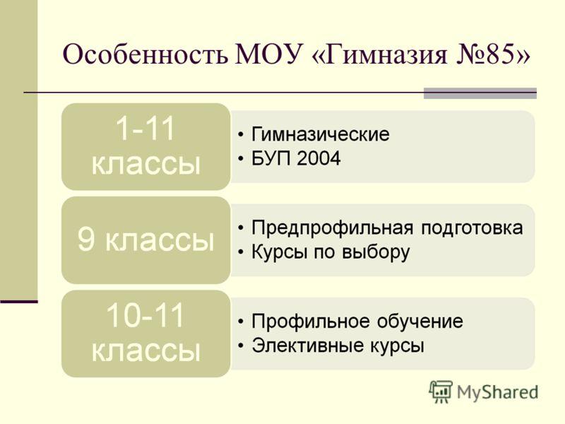 Особенность МОУ «Гимназия 85»