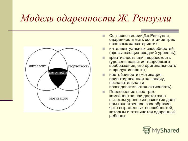 Модель одаренности Ж. Рензулли Согласно теории Дж.Рензулли, одаренность есть сочетание трех основных характеристик: интеллектуальных способностей (превышающих средний уровень); креативность или творческость (уровень развития творческого воображения,