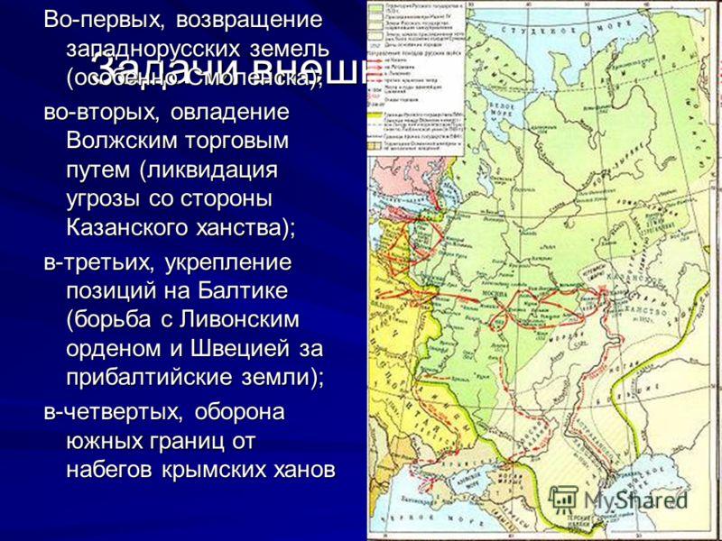 Задачи внешней политики Во-первых, возвращение западнорусских земель (особенно Смоленска); во-вторых, овладение Волжским торговым путем (ликвидация угрозы со стороны Казанского ханства); в-третьих, укрепление позиций на Балтике (борьба с Ливонским ор