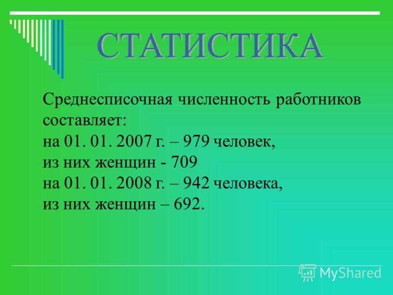 Среднесписочная численность работников составляет: на 01. 01. 2007 г. – 979 человек, из них женщин - 709 на 01. 01. 2008 г. – 942 человека, из них женщин – 692.