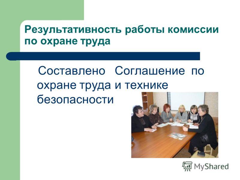 Результативность работы комиссии по охране труда Составлено Соглашение по охране труда и технике безопасности