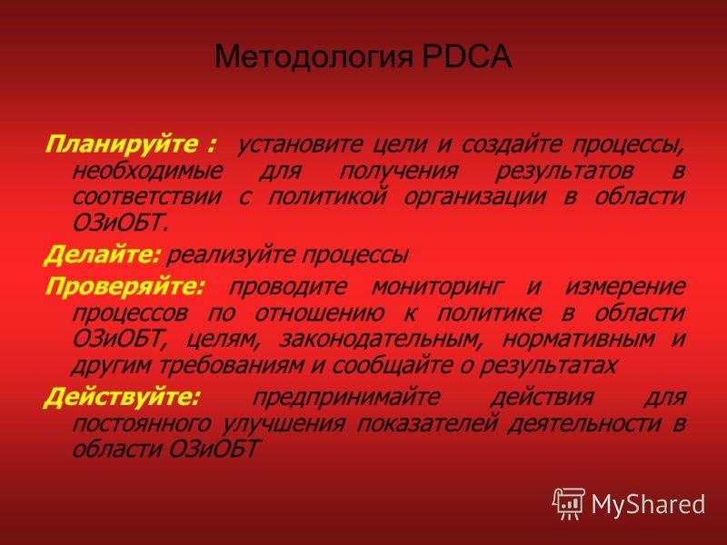 Методология PDCA Планируйте : установите цели и создайте процессы, необходимые для получения результатов в соответствии с политикой организации в области ОЗиОБТ. Делайте: реализуйте процессы Проверяйте: проводите мониторинг и измерение процессов по о