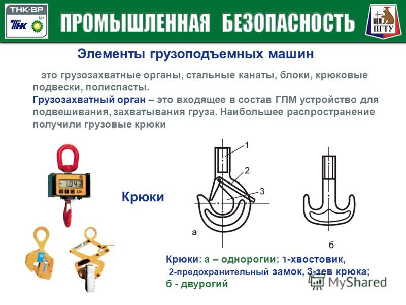 Элементы грузоподъемных машин это грузозахватные органы, стальные канаты, блоки, крюковые подвески, полиспасты. Грузозахватный орган – это входящее в состав ГПМ устройство для подвешивания, захватывания груза. Наибольшее распространение получили груз