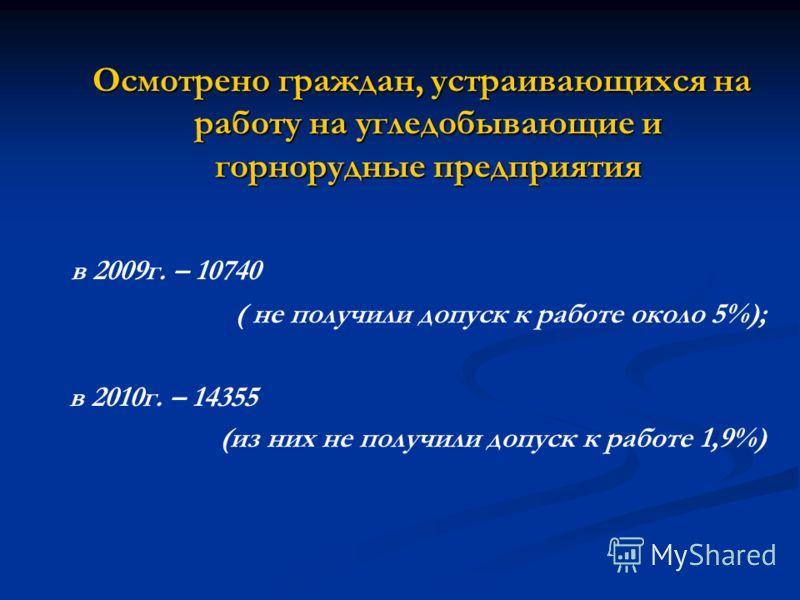 Осмотрено граждан, устраивающихся на работу на угледобывающие и горнорудные предприятия Осмотрено граждан, устраивающихся на работу на угледобывающие и горнорудные предприятия в 2009г. – 10740 ( не получили допуск к работе около 5%); в 2010г. – 14355