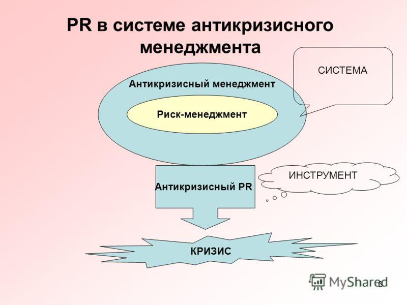 6 Антикризисный менеджмент PR в системе антикризисного менеджмента Риск-менеджмент СИСТЕМА Антикризисный PR КРИЗИС ИНСТРУМЕНТ